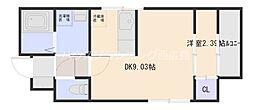 広島電鉄宮島線 古江駅 徒歩9分の賃貸アパート 2階1LDKの間取り