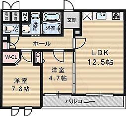 エスペランサ桃山台 2階2LDKの間取り