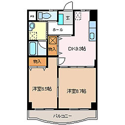 ユーイン井川城[4階]の間取り
