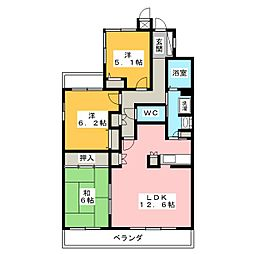 愛知県名古屋市瑞穂区岳見町4丁目の賃貸マンションの間取り