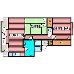 ドミ25月寒東[2階]の間取り
