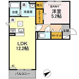 JR宇野線 大元駅 徒歩12分の賃貸アパート 1階1LDKの間取り