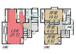 [一戸建] 千葉県印西市平賀学園台2丁目 の賃貸【/】の間取り