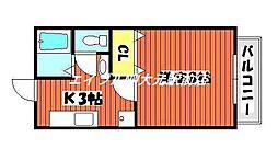 パークサイド富田[1階]の間取り