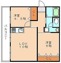 大内田ビルNO2[1階]の間取り