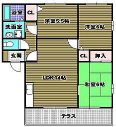 ディアス千代田A棟[1階]の間取り