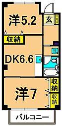 仙台坂アルカディア 6階2DKの間取り