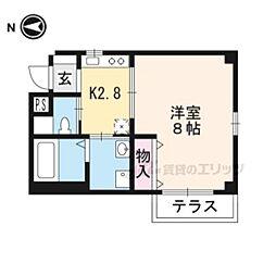 京都地下鉄東西線 東野駅 徒歩6分の賃貸マンション 1階1Kの間取り