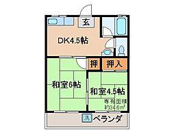 京都府京都市伏見区石田内里町の賃貸アパートの間取り