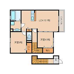 JR関西本線 木津駅 徒歩15分の賃貸アパート 2階2LDKの間取り