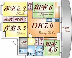 名谷7団地34号棟[8階]の間取り