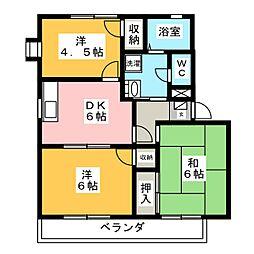 エステート中矢部[2階]の間取り