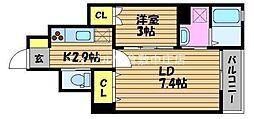 CASA Nakasyo 1階1LDKの間取り