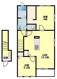 名鉄西尾線 西尾口駅 徒歩10分の賃貸アパート 2階2LDKの間取り