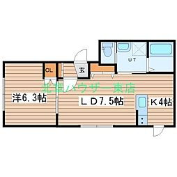 LUCY HOUSE ルーシーハウス 1階1LDKの間取り