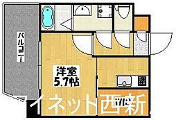 福岡市地下鉄七隈線 渡辺通駅 徒歩5分の賃貸マンション 8階1Kの間取り