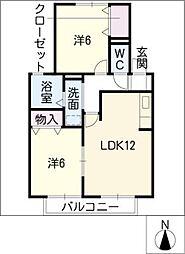 フォンティーヌ B棟[1階]の間取り