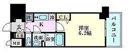 ララプレイス梅田西イルミナーレ 7階1Kの間取り