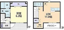 仮称)9.15茨城県つくば市上郷テラスハウス 2階1LDKの間取り
