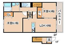兵庫県明石市二見町西二見の賃貸アパートの間取り