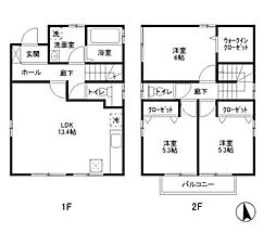 [一戸建] 神奈川県横浜市戸塚区俣野町 の賃貸【/】の間取り