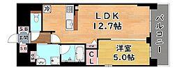 阪神本線 新在家駅 徒歩5分の賃貸マンション 2階1LDKの間取り