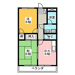 レインボー S・R[1階]の間取り