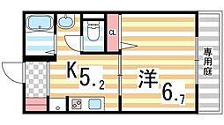 シャーメゾン灰塚A棟[105号室]の間取り