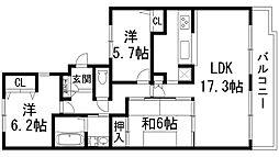 兵庫県宝塚市すみれガ丘1丁目の賃貸マンションの間取り