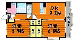 岡山県総社市門田丁目なしの賃貸マンションの間取り