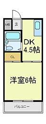 ジョイテル西田辺[5階]の間取り