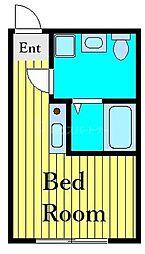 東京メトロ千代田線 町屋駅 徒歩10分の賃貸アパート 2階ワンルームの間取り