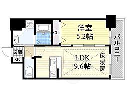 ディームス江坂 9階1LDKの間取り