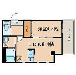 JR山手線 目黒駅 徒歩8分の賃貸マンション 3階1LDKの間取り