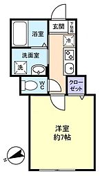 Libra京成大和田 1階1Kの間取り