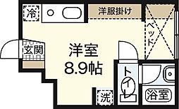 ポルトボヌール弐番館 1階ワンルームの間取り