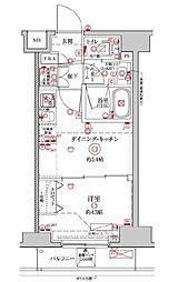 都営新宿線 浜町駅 徒歩13分の賃貸マンション 2階1DKの間取り