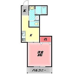 ハイツヤシマ 2階1Kの間取り
