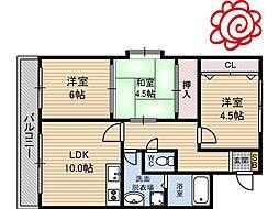 JR片町線(学研都市線) 徳庵駅 徒歩13分の賃貸マンション 6階3LDKの間取り
