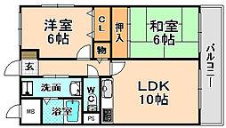 兵庫県伊丹市池尻6丁目の賃貸マンションの間取り