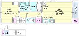 JR仙山線 愛子駅 徒歩13分の賃貸アパート 2階1LDKの間取り