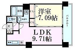 ノルデンタワー新大阪プレミアム 6階1LDKの間取り