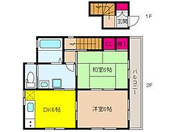 JR東海道・山陽本線 六甲道駅 徒歩15分の賃貸一戸建て 2階2DKの間取り