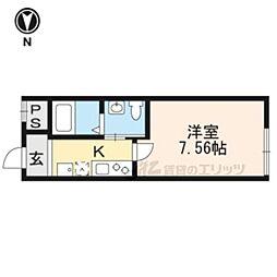 阪急京都本線 西院駅 徒歩6分の賃貸マンション 1階1Kの間取り