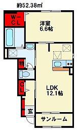 ゴールド K II 1階1LDKの間取り
