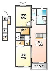 大阪府羽曳野市蔵之内の賃貸アパートの間取り