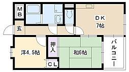メゾン摂津[502号室]の間取り