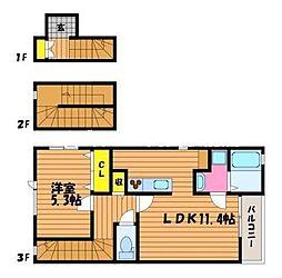 CASA HAMANO 3階1LDKの間取り