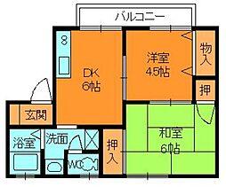 奈良県大和郡山市城町の賃貸アパートの間取り