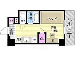 阪急京都本線 西京極駅 徒歩13分の賃貸マンション 7階ワンルームの間取り